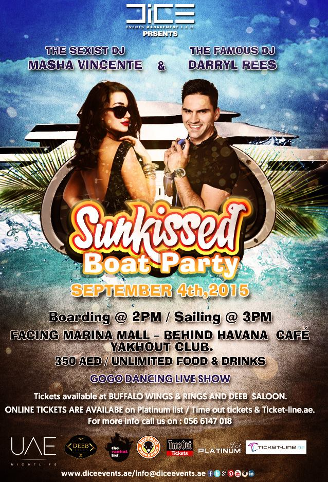 Sunkissed yacht party Sept 4th 2015